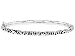Sterling Silver Oval Shape Byzantine Hinged Bangle Bracelet 7.25