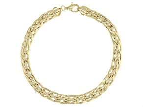 Designer Curb Link 18K Yellow Gold Over Sterling Silver Bracelet 8 Inch
