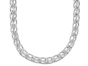 Polished & Hammered Designer Curb Link Sterling Silver Necklace 18 Inch