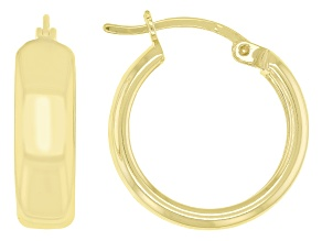 18K Yellow Gold Over Sterling Silver Polished Wide Hoop Earrings