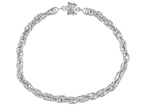 Sterling Silver Diamond Cut Rope Chain Bracelet With Magnetic Clasp 8 Inch