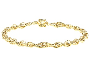 18K Yellow Gold Over Silver Diamond Cut Rope Chain Bracelet With Magnetic Clasp 8 Inch