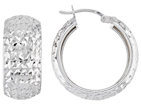 Sterling Silver Diamond Cut Wide Hoop Earrings