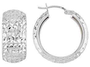 Sterling Silver Diamond Cut Wide Hoop Earrings