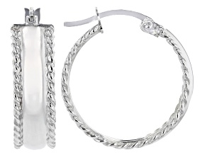 Sterling Silver High Polished With Rope Accents Hoop Earrings