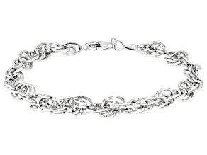 Sterling Silver Diamond Cut Round Link Bracelet 8 Inch