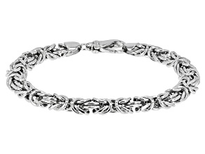 Rhodium Over Sterling Silver 8MM Domed Polished Bold Byzantine Bracelet