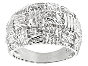 Sterling Silver Diamond Cut Graduated Wide Band Ring