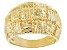 18K Yellow Gold Over Sterling Silver Diamond Cut Graduated Wide Band Ring