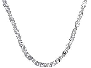 Sterling Silver 3.5MM Singapore Link Chain Necklace 18 Inch