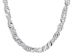 Sterling Silver 3.5MM Singapore Link Chain Necklace 20 Inch