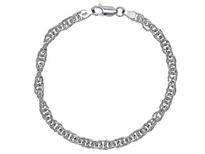 Sterling Silver Torchon Rope Chain Bracelet 7.25 Inch