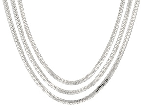 Sterling Silver Foxtail Link Chain Set