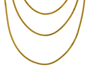 18k Yellow Gold Over Sterling Silver Foxtail Chain Set