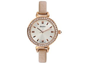 Eberle 29mm Case Crystal Studded Bezel Ladies Watch