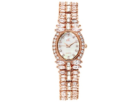 Adee Kaye™ White Crystal Rhodium Over Brass Watch