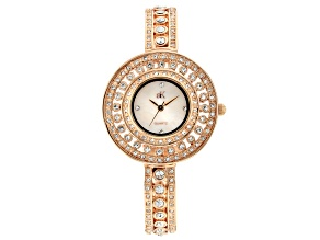 Adee Kaye™ White Crystal Hinged Bangle Watch