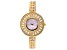 Adee Kaye™ White Crystal Gold Tone Rhodium Over Brass Watch