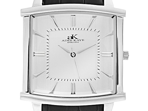 Adee Kaye™ Gent's Stainless Steel Silver Tone Dial And Black Leather Band Watch.