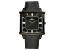 Adee Kaye™ Gent's Black Stainless Steel Black Tone Dial And Black Leather Band Watch.