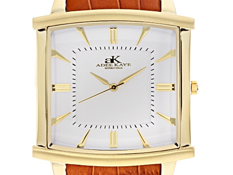 Adee Kaye™ Gent's Gold Tone Stainless Steel White Dial And Brown Leather Band Watch.