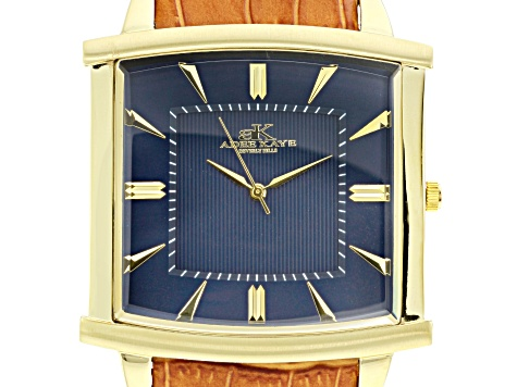 Adee Kaye™ Gent's Gold Tone Stainless Steel Blue Dial And Brown Leather Band Watch.