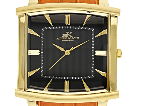 Adee Kaye™ Gent's Gold Tone Stainless Steel Black Dial And Brown Leather Band Watch