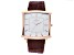 Adee Kaye™ Gent's Rose Tone Stainless Steel Silver Tone Dial And Dark Brown Leather Band Watch