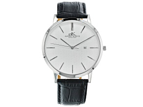 Adee Kaye™ Silver Tone Stainless Steel and Black Leather Band Gent's Watch