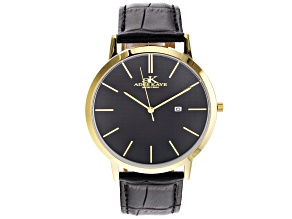 Adee Kaye™ Gold Tone Stainless Steel Case and Black Leather Band Gent's Watch