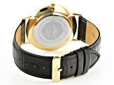 Adee Kaye™ Gold Tone Stainless Steel and Black Leather Band Gent's Watch