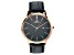Adee Kaye™ Rose Tone Stainless Steel and Black Leather Band Gent's Watch