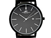 Adee Kaye™ Gunmetal Tone Stainless Steel and Black Leather Band Gent's Watch