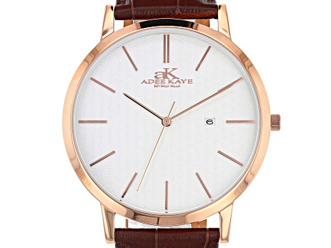 Adee Kaye™ Rose Tone Stainless Steel and Brown Leather Band Gent's Watch