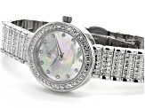 Adee Kaye™ White Crystal Silver Tone Rhodium Over Base Metal Mother of Pearl Dial Watch.