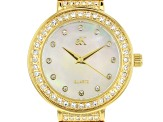 Adee Kaye™ White Crystal Gold Tone Rhodium Over Base Metal Mother of Pearl Dial Watch