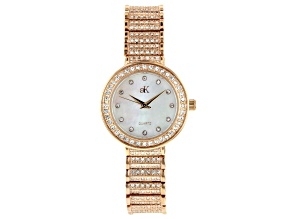 Adee Kaye™ White Crystal Rose Tone Rhodium Over Base Metal Mother of Pearl Dial Watch.