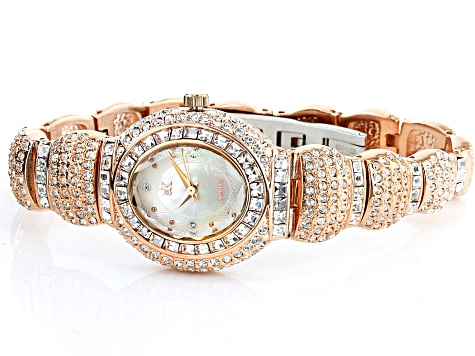 Adee Kaye™ White Crystal Rose Tone Mother of Pearl Dial Watch.