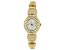 Adee Kaye™ White Crystal Mother of Pearl Dial Gold Tone Rhodium Over Base Metal Watch.