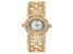 Adee Kaye™ White Crystal Gold Tone Rhodium Over Base Metal Hinged Bangle Watch