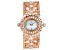 Adee Kaye™ White Crystal Rose Tone Rhodium Over Base Metal Hinged Bangle Watch.