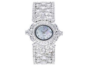 Adee Kaye™ White Crystal Silver Tone Rhodium Over Base Metal Hinged Bangle Watch