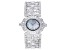 Adee Kaye™ White Crystal Silver Tone Rhodium Over Base Metal Hinged Bangle Watch
