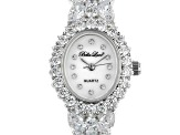 White Cubic Zirconia Rhodium Over Brass Ladies Wrist Watch 30.36ctw