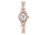 White Cubic Zirconia 18K Rose Gold Over Brass Ladies Wrist Watch 30.36ctw