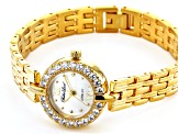 White Cubic Zirconia 18K Yellow Gold Over Brass Ladies Wrist Watch 1.45ctw