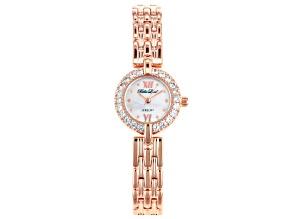 White Cubic Zirconia 18K Rose Gold Over Brass Ladies Wrist Watch 1.45ctw