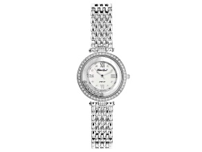 White Cubic Zirconia Rhodium Over Brass Ladies Wrist Watch 2.13ctw