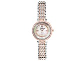 White Cubic Zirconia Rhodium And 18K Rose Gold Over Brass Ladies Wrist Watch 2.13ctw