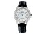 White Cubic Zirconia Rhodium Over Brass Black Genuine Leather Ladies Wrist Watch 2.44ctw